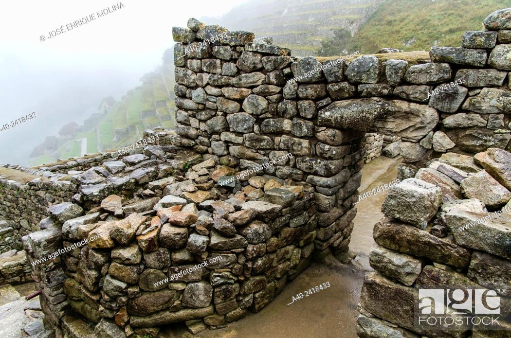 Stock Photo: Archaeological site of Machu Picchu, Cusco, Peru.Hanan sector.