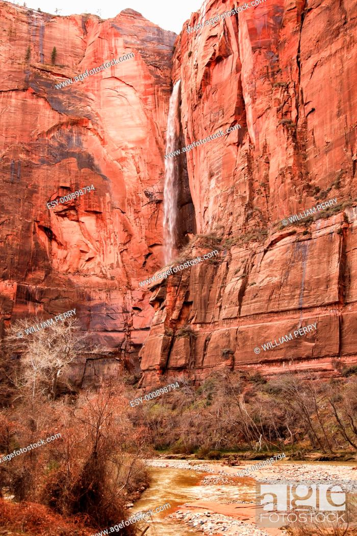 Stock Photo: Temple of Sinawava Waterfall Red Rock Wall Virgin River Zion Canyon National Park Utah Southwest.
