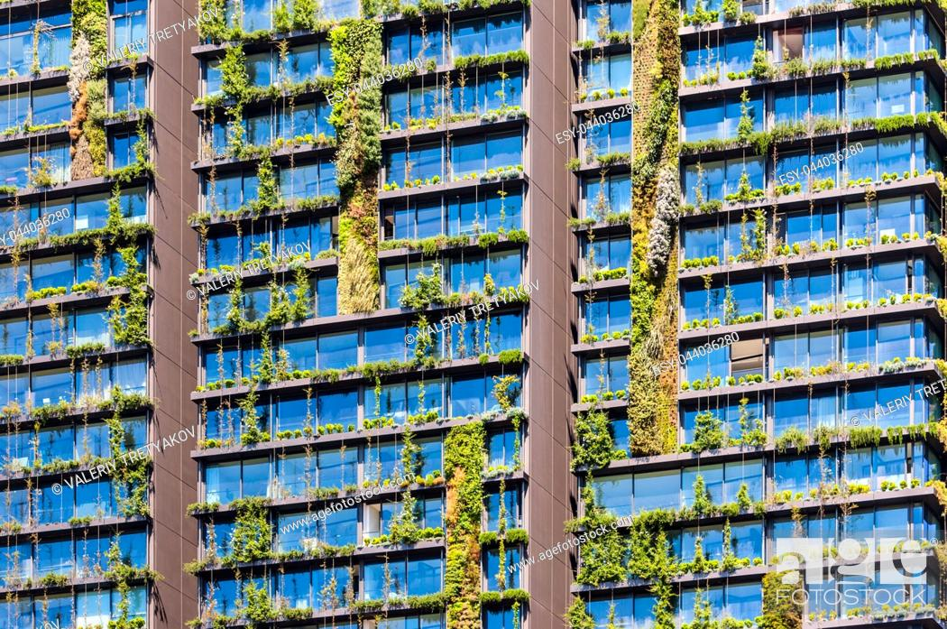 Stock Photo: Vertical garden or living wall is a wall covered with living plants on residential building, Sydney Australia.