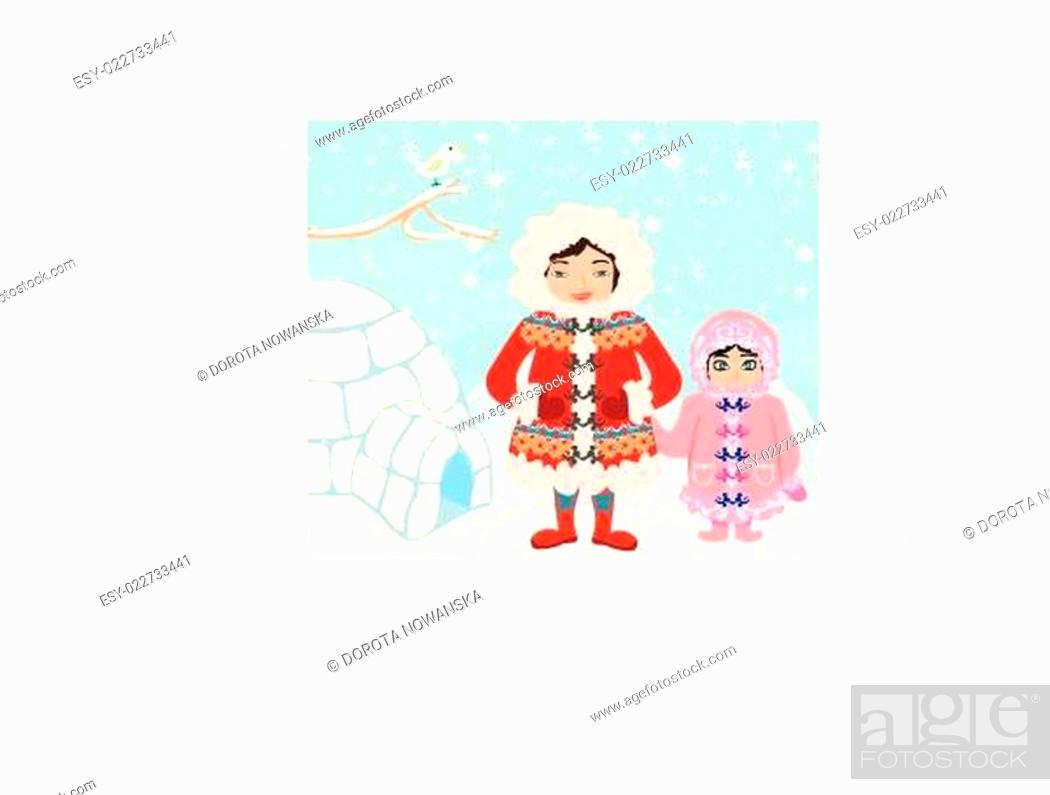 Stock Vector: Mom and daughter standing at the igloo.