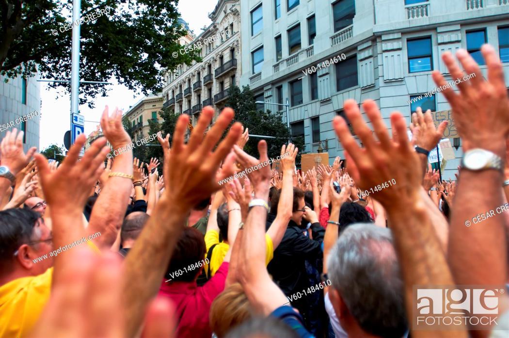 Stock Photo: -Demonstration Indignants Movement 15M- 19 of Juny 2011, Barcelona (Spain).