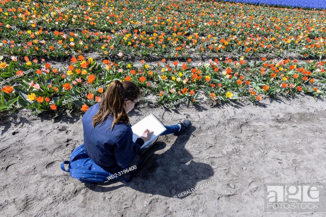 Stock Photo: A Girl enjoying a field of flowers in Holland,.
