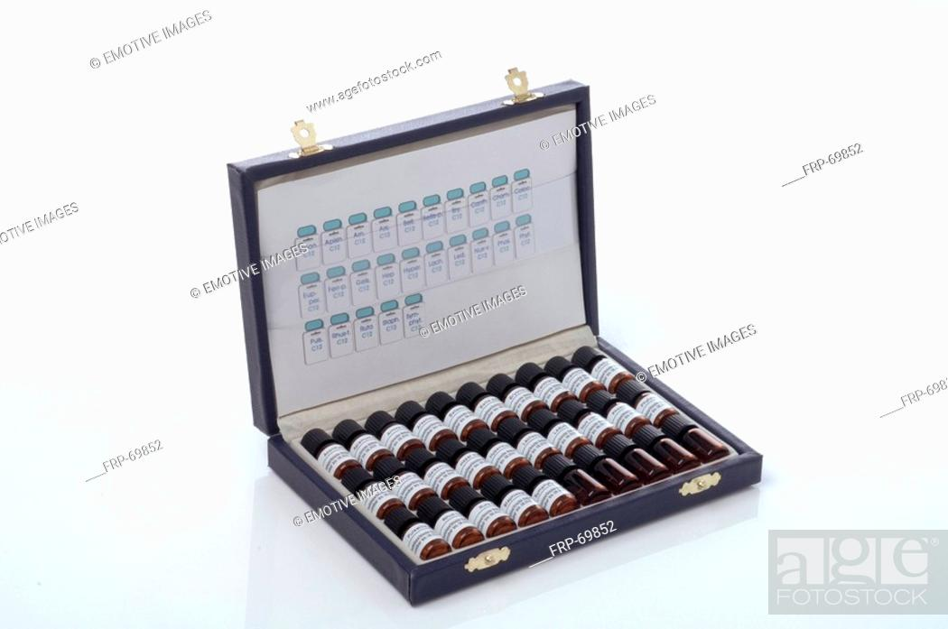 Stock Photo: Assortment of homeopathic remedies.