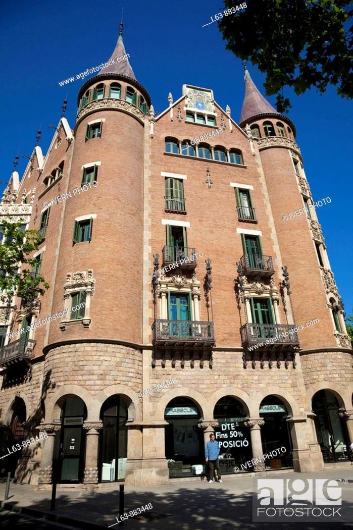 Stock Photo: Casa Terrades (aka Casa de les Punxes, 1903-05), Barcelona. Catalonia, Spain.