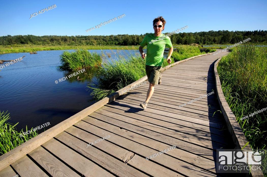Stock Photo: Trail running at Burnaby Lake Regional Park, Burnaby, British Columbia, Canada.