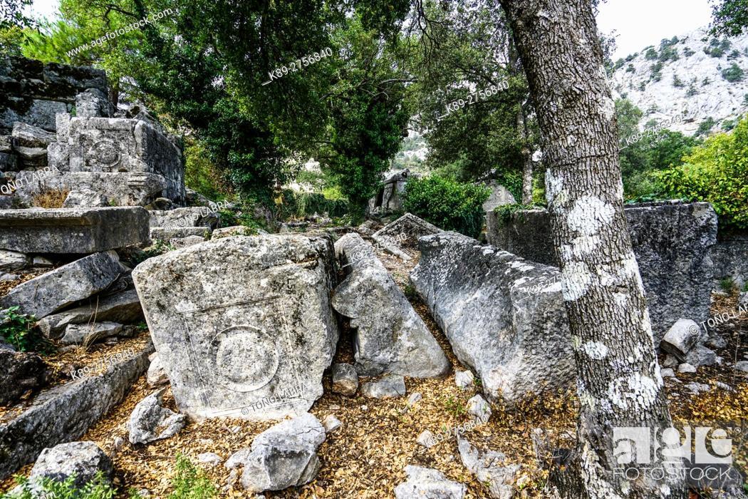 Stock Photo: North Necropolis of Termessos. The unexcavated Pisidian city. Ancient Greece. Asia Minor. Turkey.