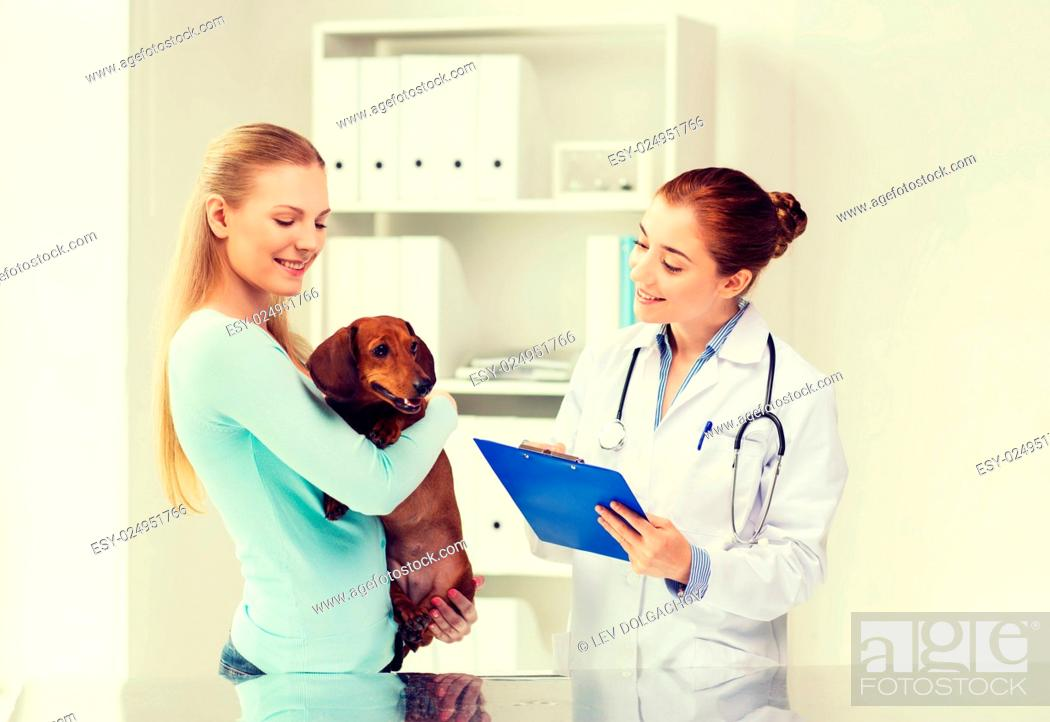 Stock Photo: medicine, pet care and people concept - happy woman holding dachshund dog and veterinarian doctor with clipboard at vet clinic.