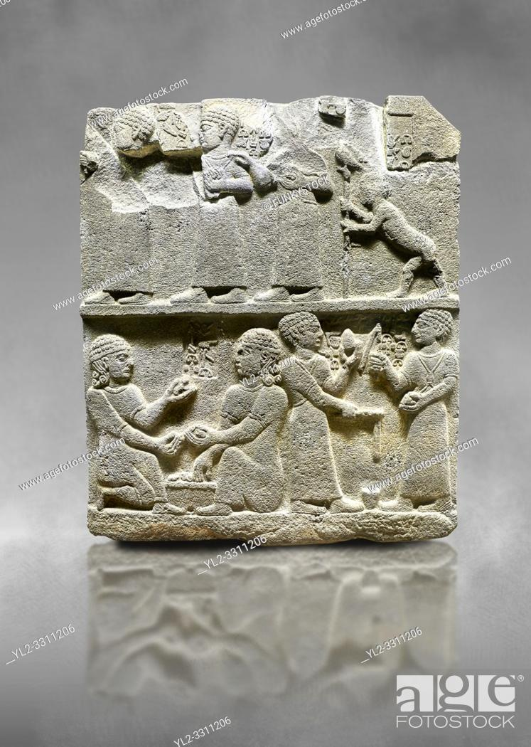 Stock Photo: Hittite monumental relief sculpted orthostat stone panel of Royal Buttress. Basalt, Karkamıs, (Kargamıs), Carchemish (Karkemish), 900 - 700 B. C.