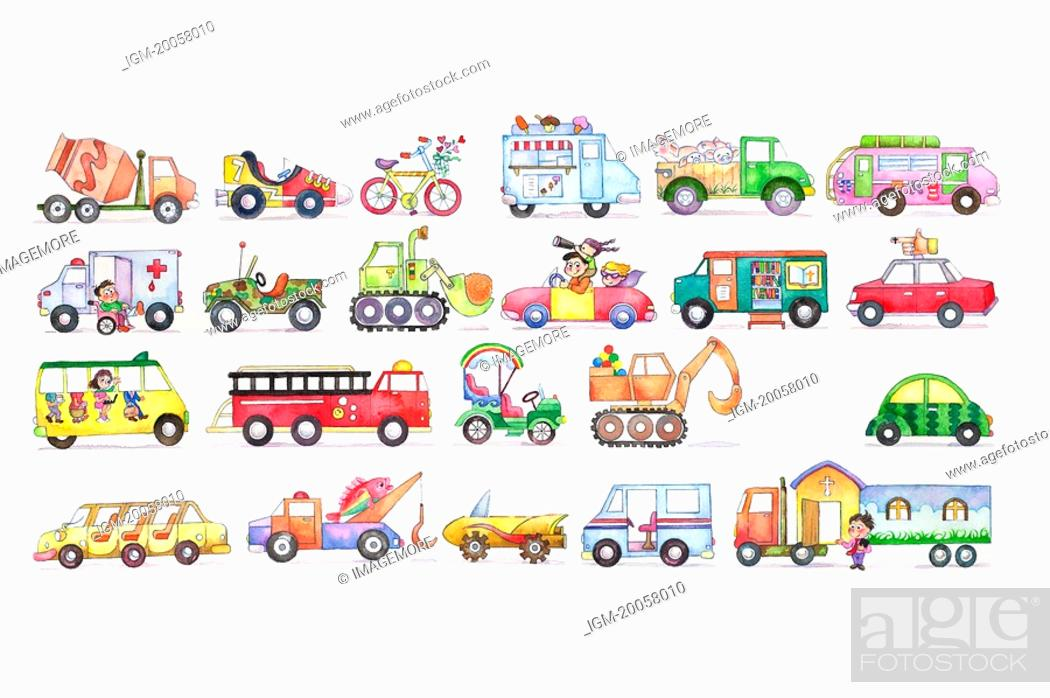 Stock Photo: Flower, Watercolor painting of different kinds of transportation.