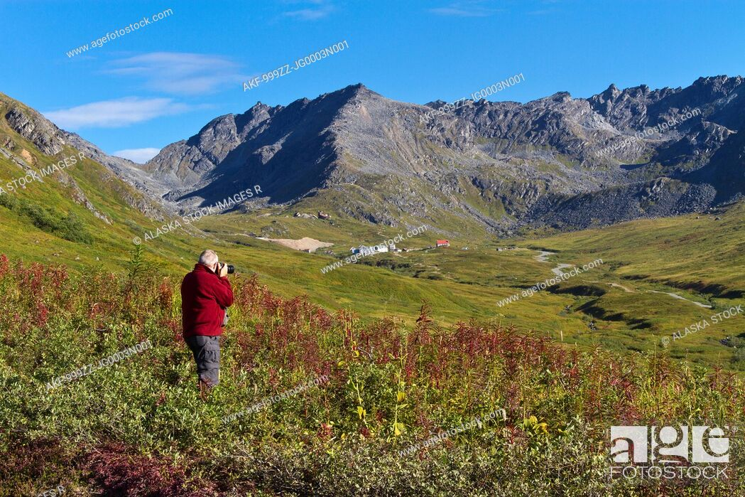Stock Photo: Male tourist photographing Hatcher Pass and Independence Mine buildings, Talkeetna Mountains, Southcentral Alaska, Summer.