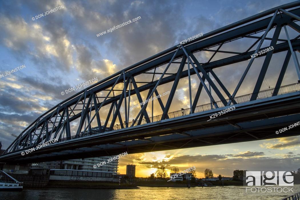 Stock Photo: Nijmegen railway bridge over the Waal River, Nijmegen, Gelderland, Netherlands.