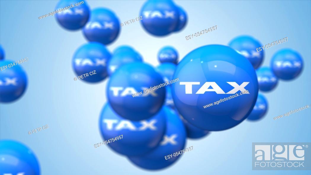 Stock Photo: Tax as financial metaphor balls background.
