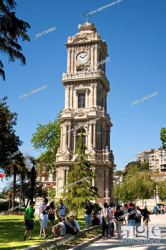 Stock Photo: Dolmabahce Palace clock tower, outside Dolmabahce Palace, Istanbul, Turkey.