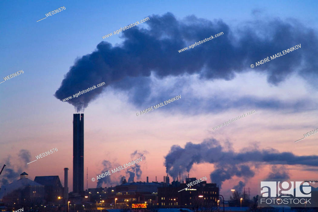 Stock Photo: Power plant in Uppsala in an early winter morning. Sweden.