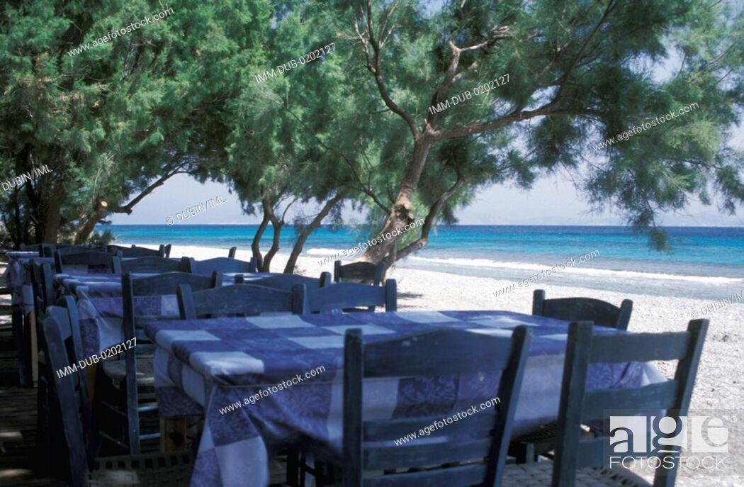 Stock Photo: Restaurant near beach Ikaria, N E  Aegean, Greece.