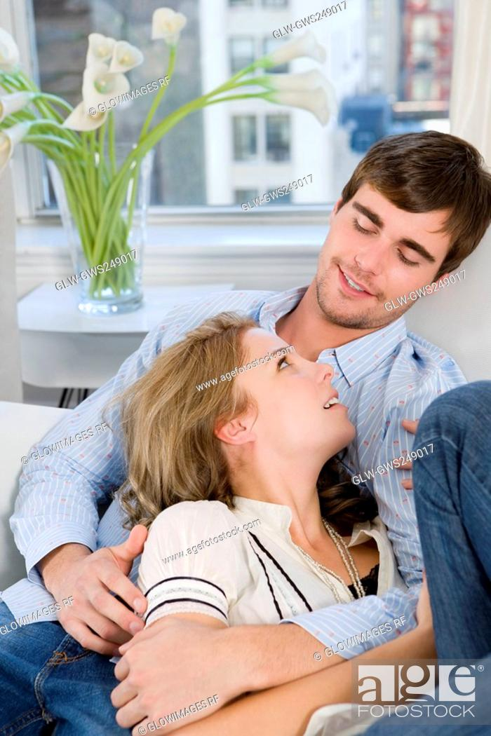 Stock Photo: Young couple romancing.