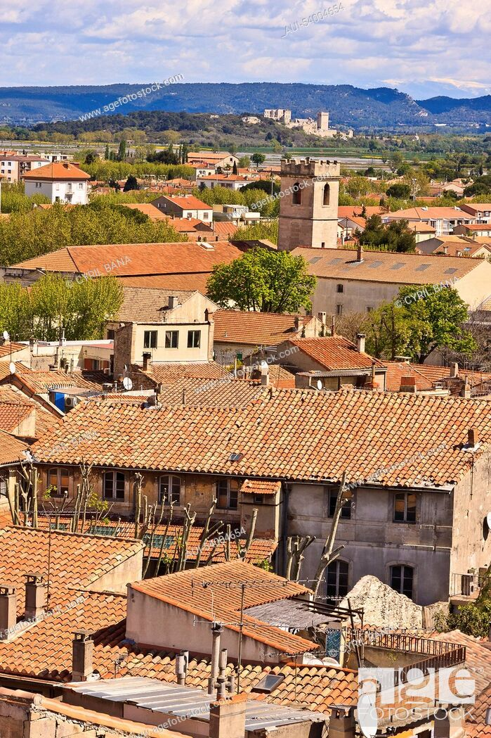 Stock Photo: France, Arles, cityscape, rooftops, belfry.