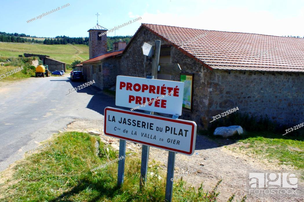 Stock Photo: Farm, La Jasserie, Natural Park of Pilat, Loire, Rhone Alpes, France.