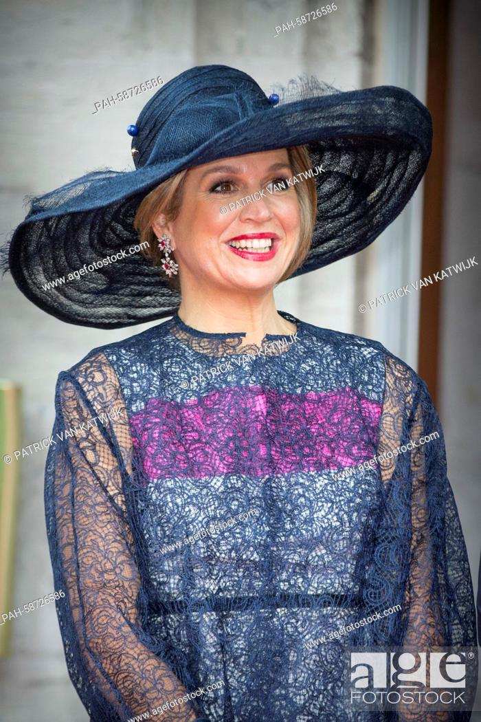 Queen Maxima of The Netherlands who arrive by coach attend ...