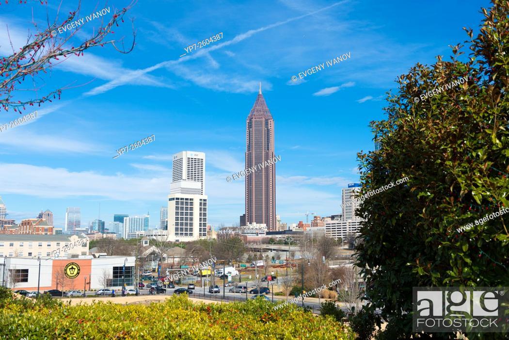 Stock Photo: Atlanta Georgia skyline with Bank Of America skyscraper.