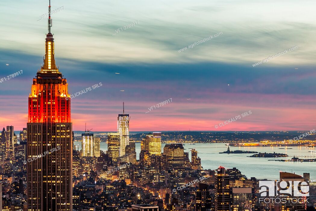 Stock Photo: Midtown skyline with Empire State Building from the Rockefeller Center, Manhattan, New York City, USA.