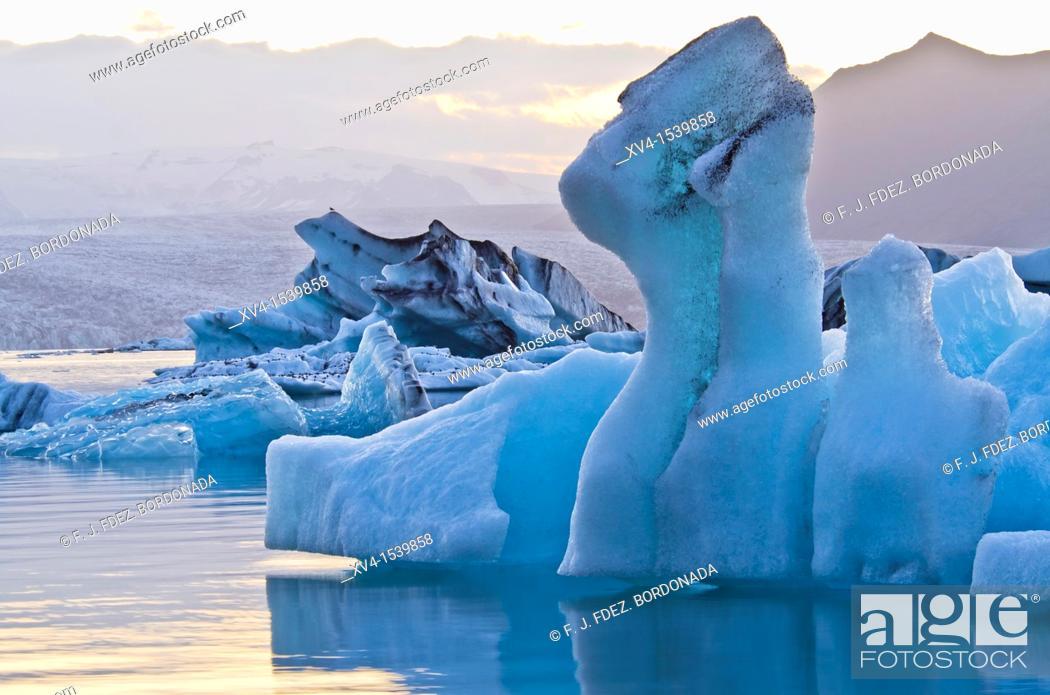 Stock Photo: Jökulsarlón glacial lagoon  Iceland east  Polar regions.