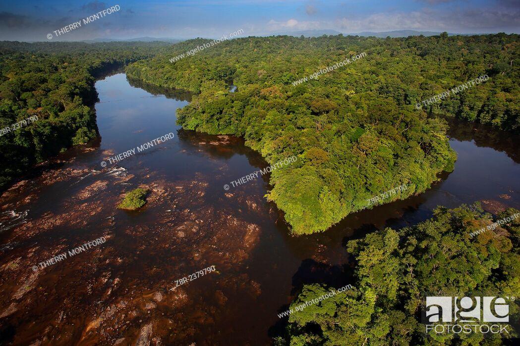 "Stock Photo: """"""""""Saut Athanase"""" on the Approuague river. Dry season. French Guiana."