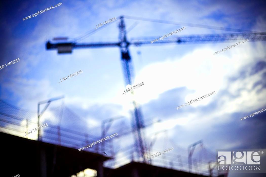 Stock Photo: Cranes working.