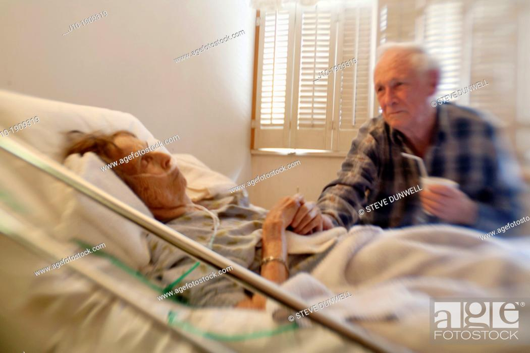 Stock Photo: friend visit elderly woman age 88, home hospice care, Poughkeepsie, NY.