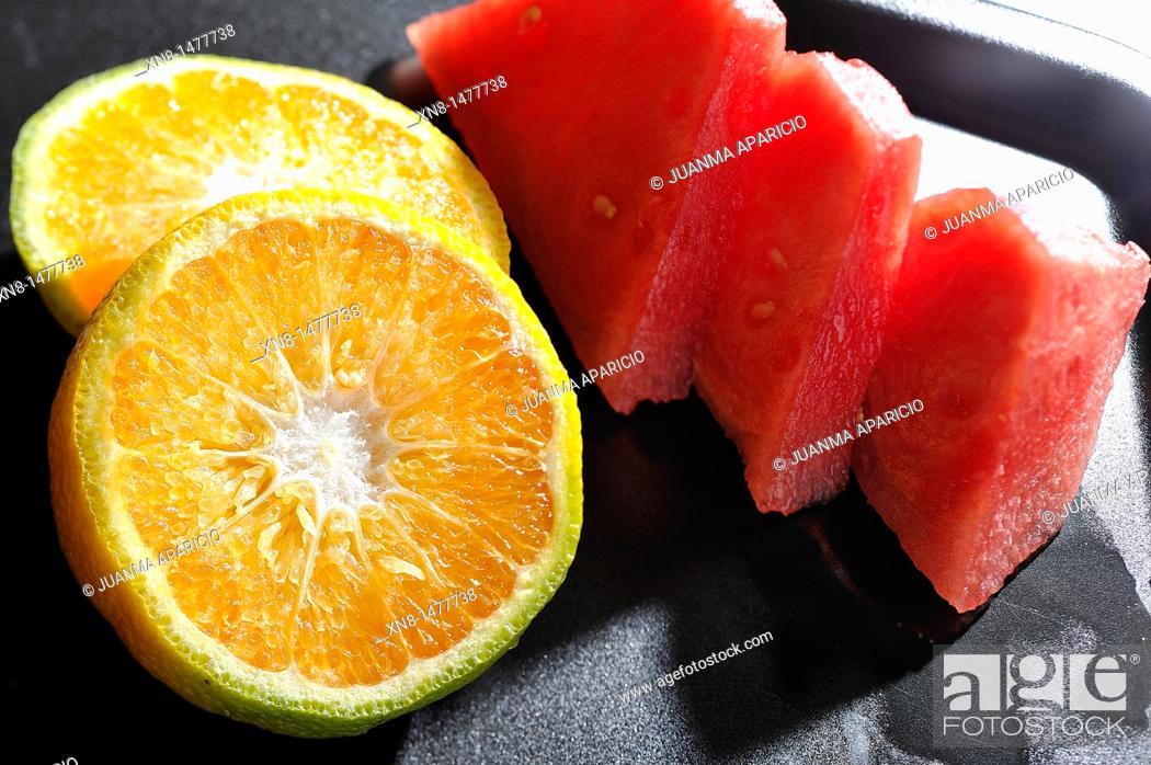 Stock Photo: Power Still, Orange and Watermelon.