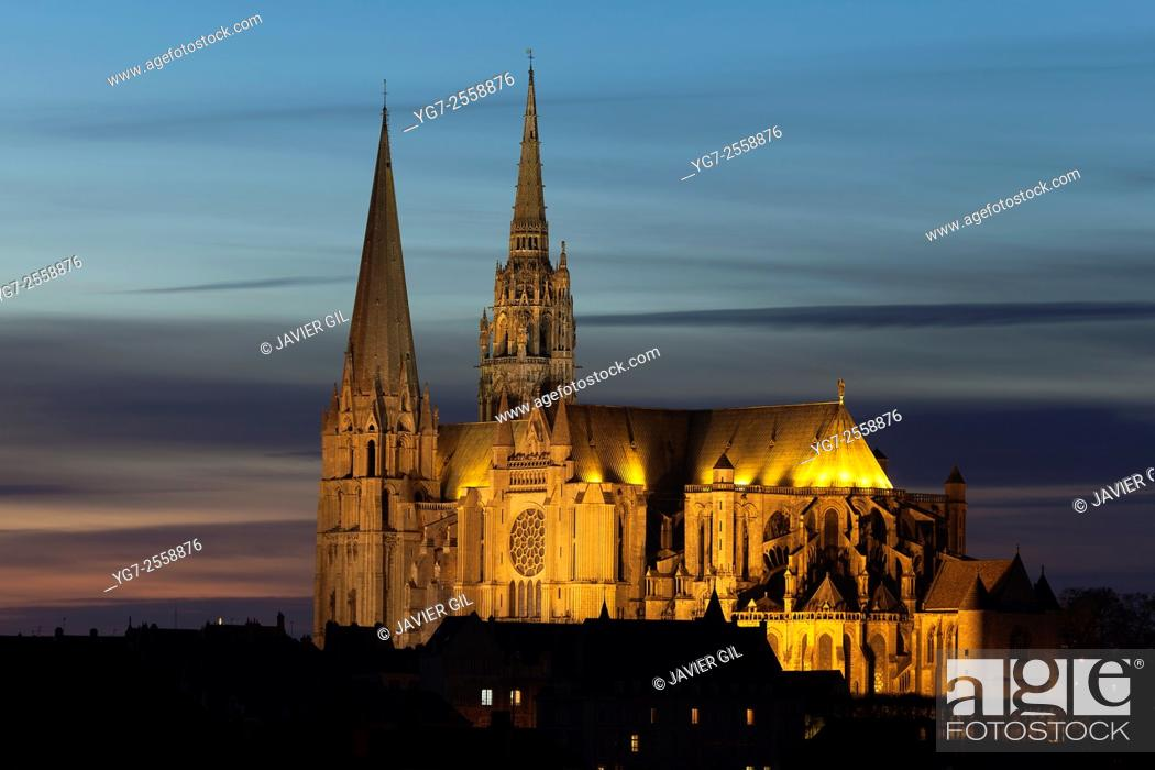 Stock Photo: Cathedral of Our Lady of Chartres, Eure et Loir department, Centre region, France.