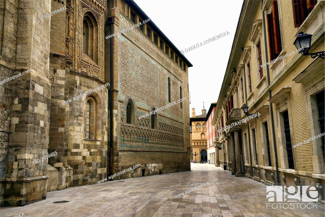 Stock Photo: Cathedral of the Savior - Catedral del Salvador or La Seo de Zaragoza, Roman Catholic Cathedral in Plaza de la Seo in Zaragoza.