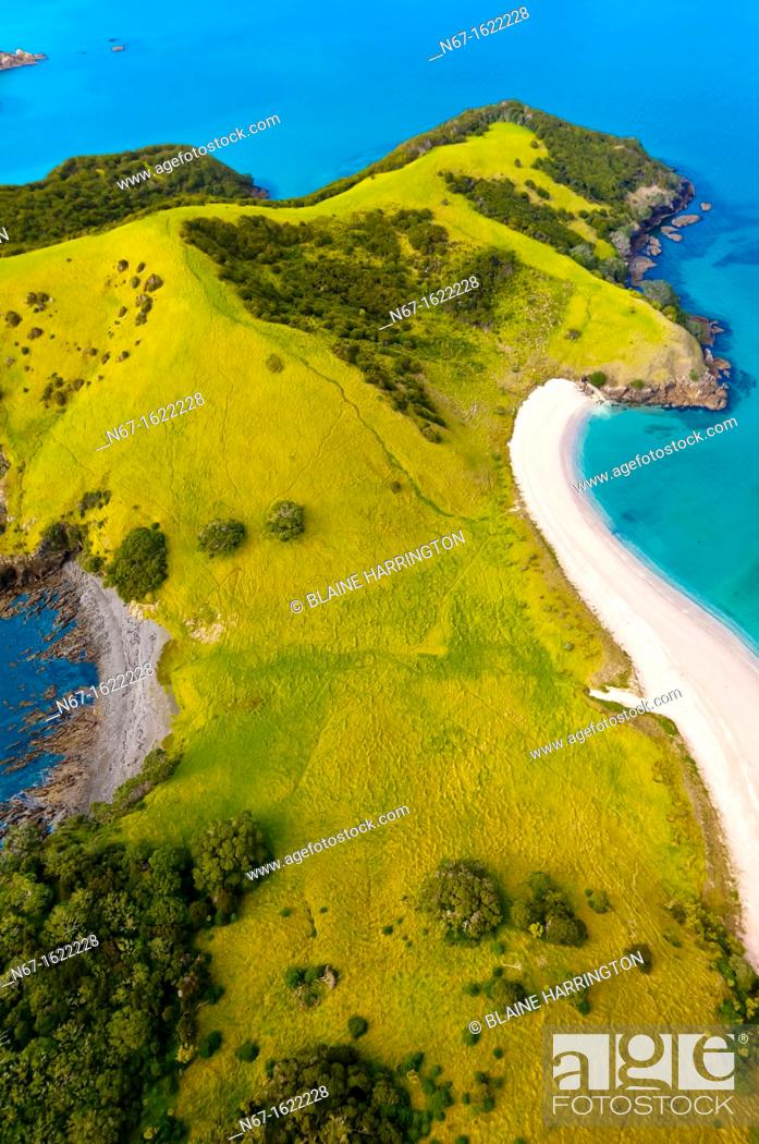 Stock Photo: Aerial view of Waikare Inlet, the Bay of Islands in the Northland region of the north island of New Zealand.