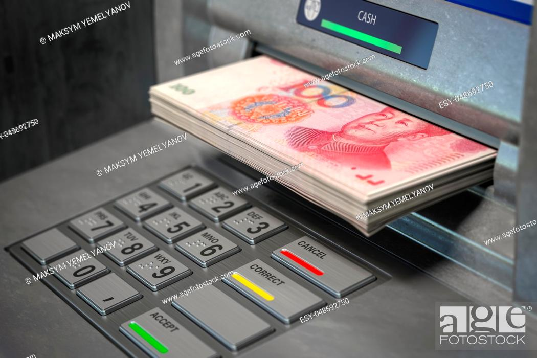 Imagen: ATM machine and yuan. Withdrawing 100 yuan banknotes. Banking concept. 3d illustration.