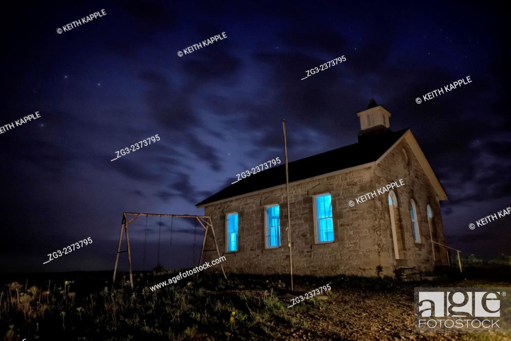 Stock Photo: Abandoned Scholl house under the Milky Way in Kansas.