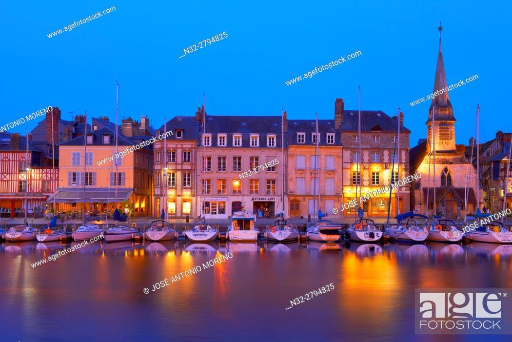 Stock Photo: Honfleur, Dusk, Vieux Bassin, Old Harbour. Calvados, Normandy, France.