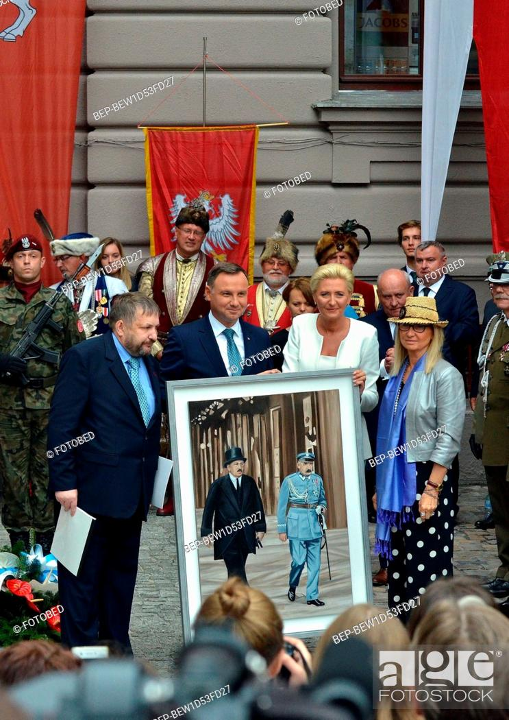 Stock Photo: September, 11 2018 Cracow, Poland. Pictured: President of the Republic of Poland Andrzej Duda and the first lady Agata Duda.