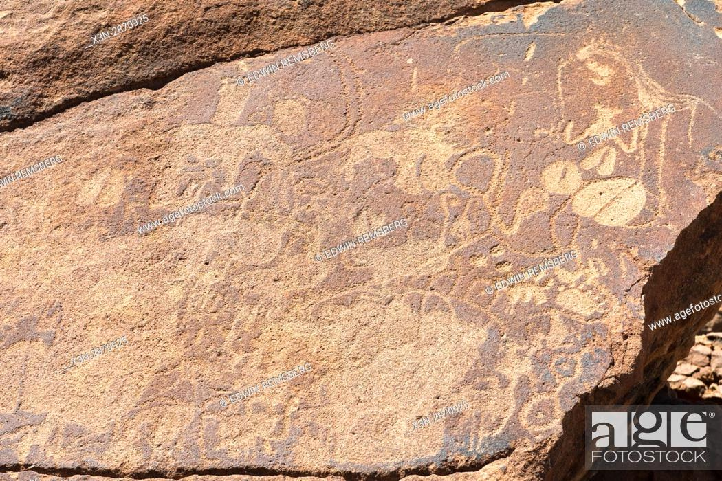 Stock Photo: Rock carvings made by ancient tribes of Damaraland in Twyfelfontein, located in Namibia, Africa.