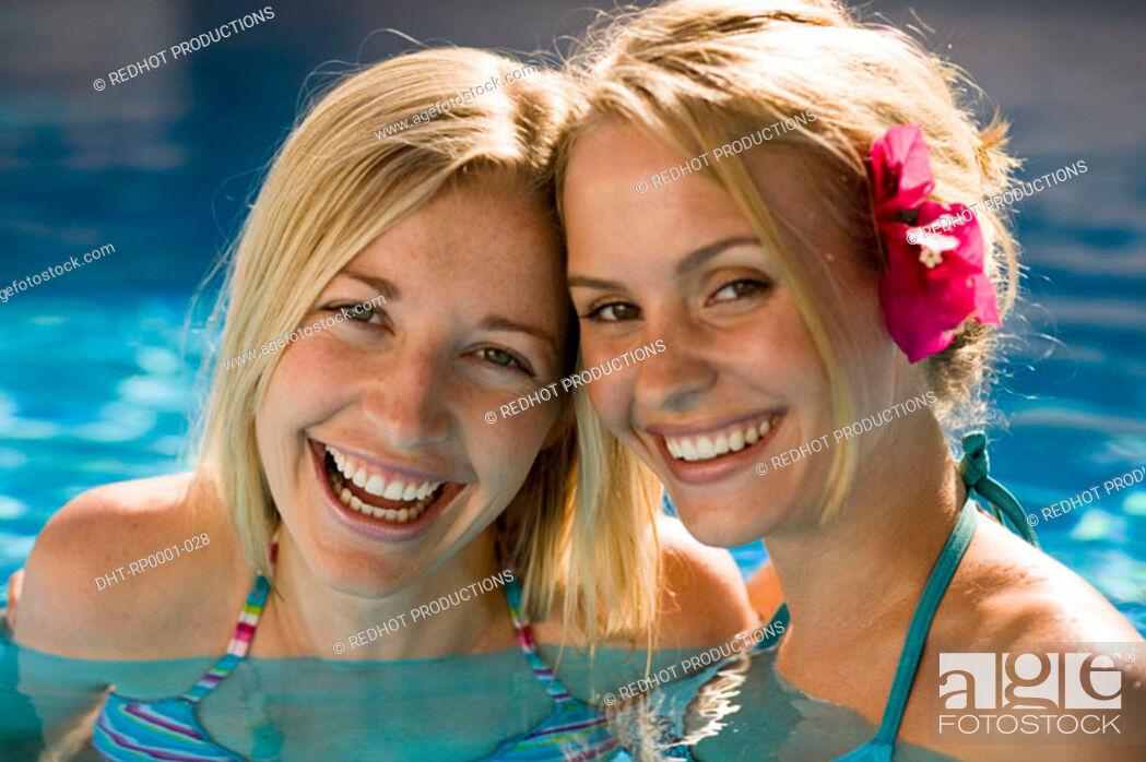 Stock Photo: Two women in pool.