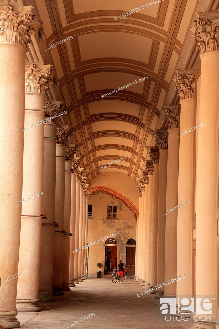 Stock Photo: Passage of the Duomo in the Piazza de lla Repubblica of Novara. Italy.