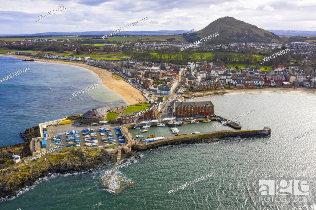 Stock Photo: Aerial view of harbour and town of North Berwick in East Lothian, Scotland, UK.