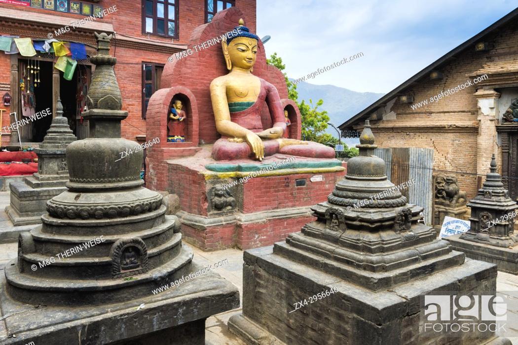 Photo de stock: Bumisparsha mudra Buddha Statue, Swayambunath or Monkey Temple, Unesco World Heritage Site, Kathmandu, Nepal, Asia.
