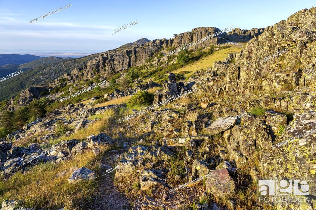 Stock Photo: Slate rocks on the way to the Goat Cliff in Sierra Norte. Madrid. Spain. Europe.