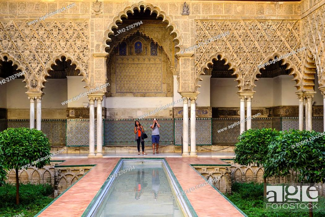 Stock Photo: The Courtyard of the Maidens (Alcázar of Seville).