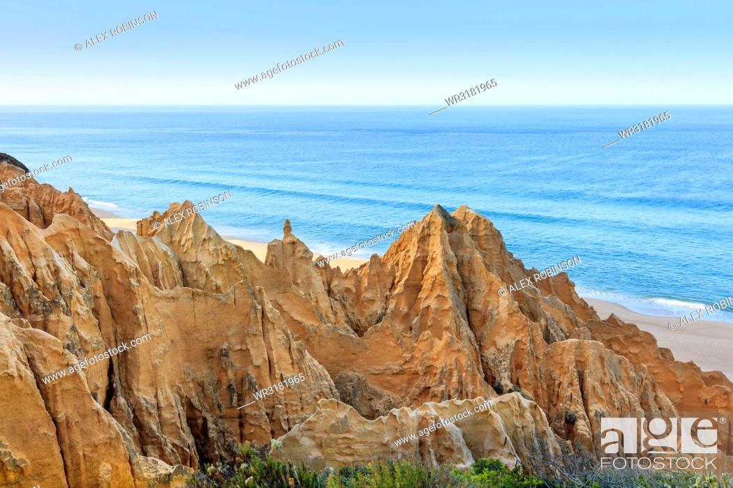 Stock Photo: Sandstone cliffs in Carvalhal on the Alentejo coast, Portugal, Europe.
