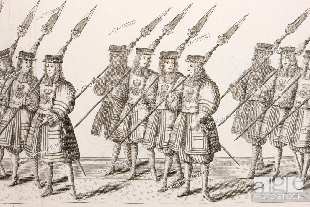 Stock Photo: An illustration from a contemporary account of the coronation of King James II on 23 April 1685 showing part of the coronation procession˜.