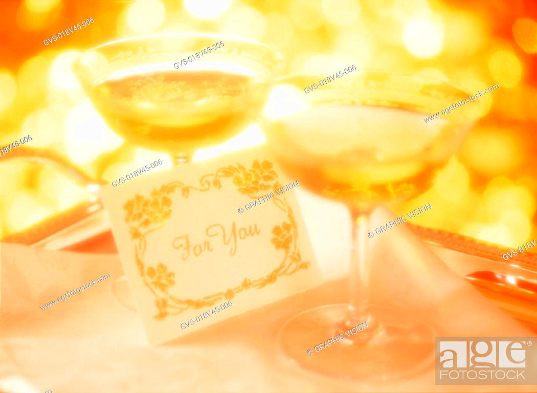 Stock Photo: Close Up of Two Wine Glasses and Greeting Card.