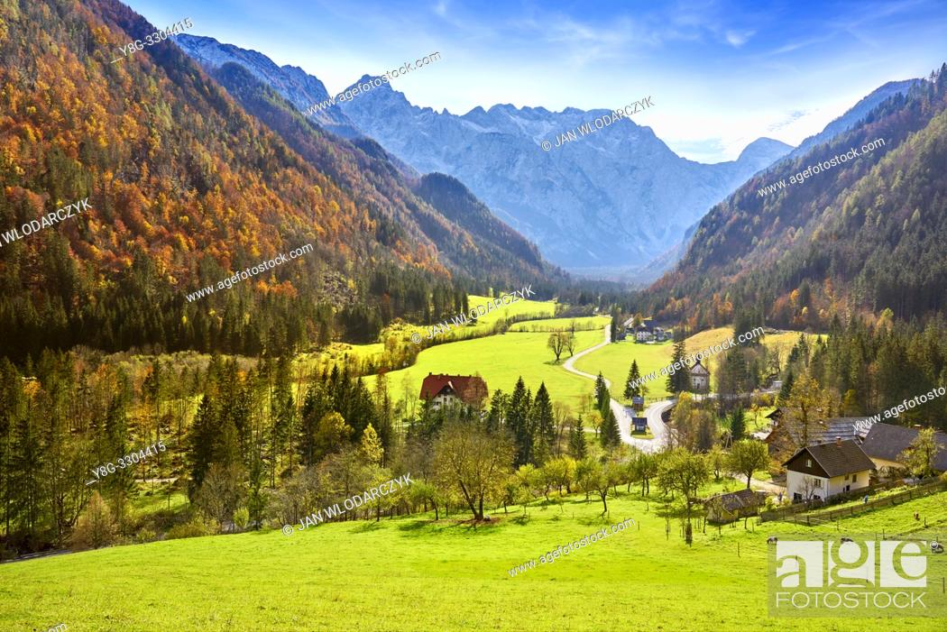 Stock Photo: Logar Valley, Slovenian Alps, Slovenia.