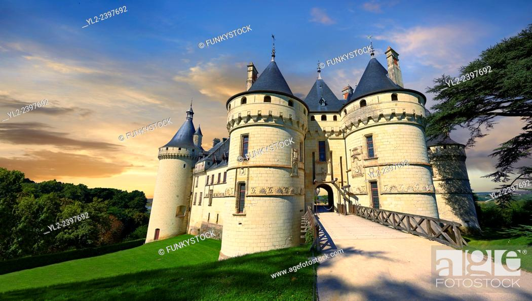 Stock Photo: 15th century castle Château de Chaumont, rebuilt by Charles I d'Amboise, acquired by Catherine de Medici in 1560. Chaumont-sur-Loire, Loir-et-Cher, France.