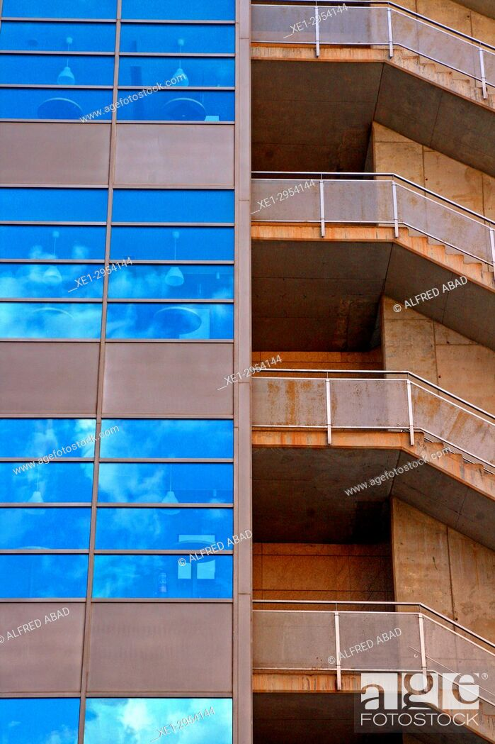 Stock Photo: staircase and stained glass windows of office building, 22 @, Barcelona, Catalonia, Spain.